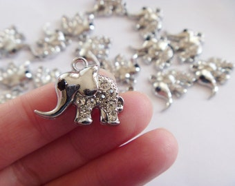 20pcs 22x15mm Antique Silver Lovely Rhinestone Elephant Charm Pendant. 27793