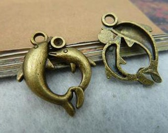 10pcs 20x25mm Antique Bronze Lovely Two Dolphins Charm Pendant c2442-9