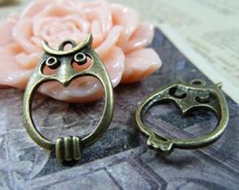 20pcs 16x22mm Antique Bronze Lovely Owl Charm Pendant C1185-9