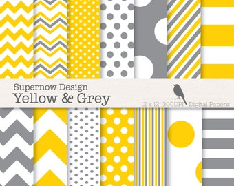 FREE COMMERICAL use Grey & Yellow Scrapbooking Papers. Mixed Yellow and Grey Digital Paper Pack. Chevrons, Polka Dots, Stripes.