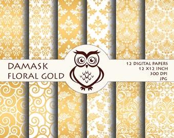 Set of 12 Digital Paper Sheets in Gold Damask - Damask Digital Paper Set