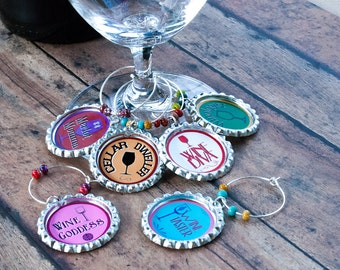 Wine charms, foodie, drink, bachelorette wine charm, wine glass, funny birthday gift, housewarming gift, ladies night out, unique wine gifts
