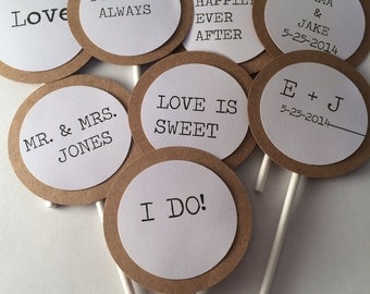 Set of 12 Wedding Bridal Shower Cupcake Toppers