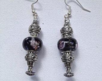 Black European bead and Tibetan silver bead dangle Earrings