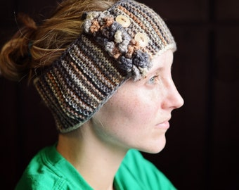 Knit Women's Headband Ear Warmer with Ruffle