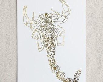 Zodiac - Scorpio Scorpion Foil Print