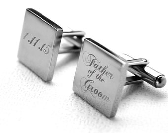 Wedding Cufflinks - Stainless steel with engraved personalized date for Father of the Groom, custom, customized, dated, heirloom