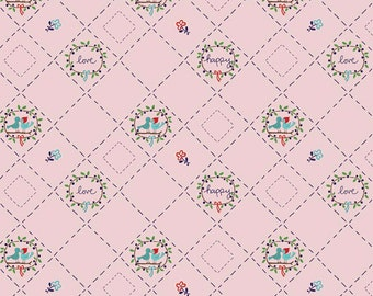 CLEARANCE Country Birds pink fabric   Country Girls by Tasha Noel for Riley Blake, sweet bird motif for handmade girls' dresses, kid clothes