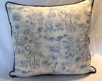 Blue and White Angel Pillow Covers