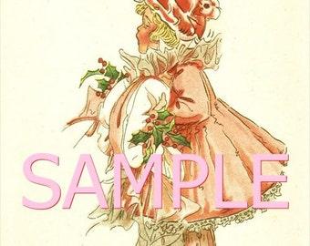Vintage Christmas Greeting* Fabric Block 14-0406 FREE SHIPPING