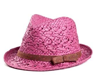 Fedora hat , Sun hat , Magenta custom hat , Raffia fedora hat for women.