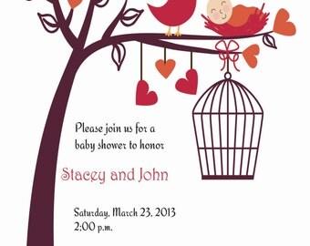 Fall themed baby shower invitation