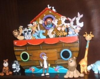 12 mini noah's ark animals cold porcelain pieces