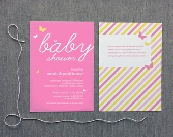Baby Shower Invitation Girl Butterflies - Digital File