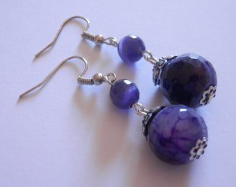 Purple jade earrings