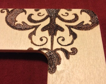 Wood Burned Victorian Style Picture Frame