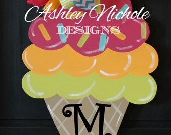 SHIPS NOW!! Ice Cream Cone Wooden Door Hanger, Door Decoration, Spring & Summer Decor