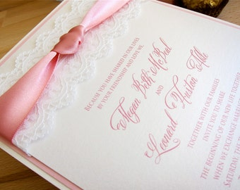 Pink & cream, multi-layered with lace and ribbon wedding invitation