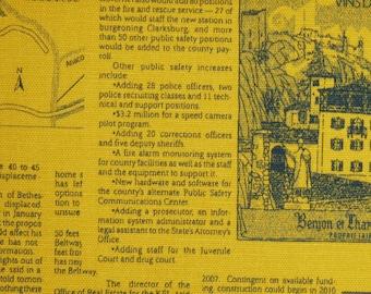 1/2 yard- Kei - Newsprint Mustard- Cotton Oxford