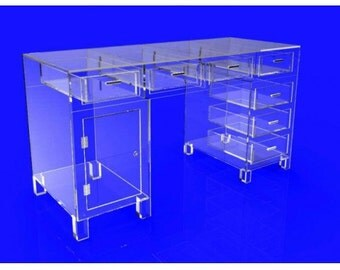 Desk, Executive Table, Clear Plexiglass Acrylic