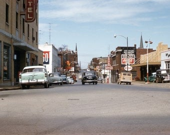 Clarksville Tennessee 1955 Street Scene from original 35mm Kodachrome slide