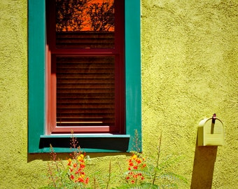 Southwest Window Photography Fine Art Santa Fe Architecture Wall Hanging  Mailbox Yellow Stucco Adobe Southwest Door
