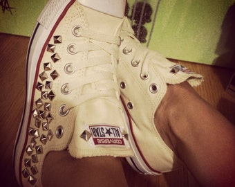 Custom Studded Buttercream Converse All Star - Chuck Taylors! ALL SIZES & COLORS!