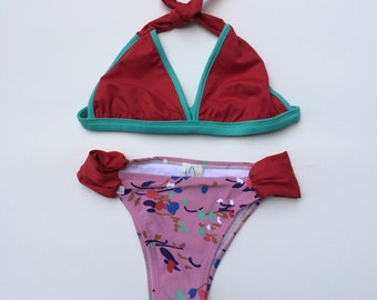 Pretty Triangle Top Bikini with Abstract Floral Bottom (Childrens Size 6)
