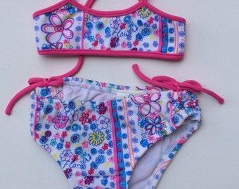 Pink Flower Print Bikini (Childrens Size 6-9mo)