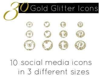 Gold Glitter Icons Social Media Button Set