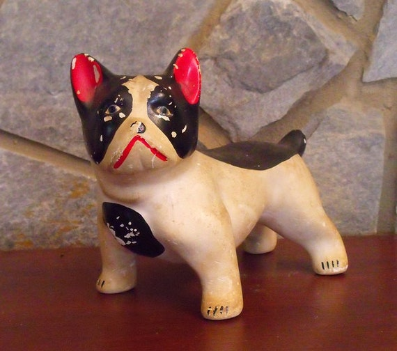 Boston Terrier Figurine, 1940's era Chalkware American Gentleman // Collectible Boston Terrier Statue