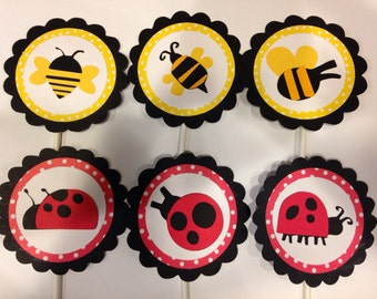 12 ladybug and bumble bee cupcake toppers