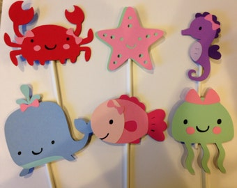 12 Girl Under The Sea Animal Cupcake Toppers