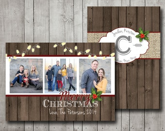 Photo Christmas Card Rustic Holly Vintage Wood and String Lights with Custom Printable Digital
