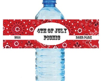 """100 4th of July Independance Day Bash Water Bottle Labels Great for Party Get together 7""""x2"""" Red Bandana"""