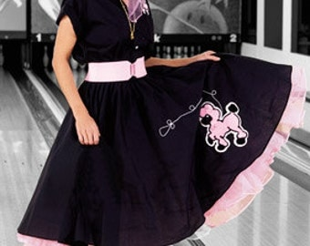 Adult Poodle Skirt with Hand Sewn Chenille Poodle With Chain Stitched Leash