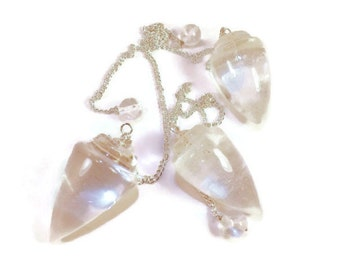 Crystal Pendulum, Quartz Crystal Pendant With, chain and Crystal Bead, Supplies for Dowsing, Meditation, Cleansing - Metaphysical