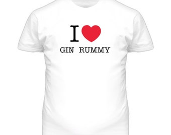 I Heart Gin Rummy Cards Luv Love T Shirt