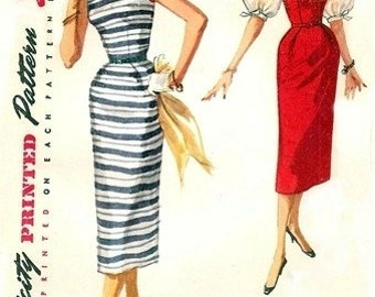 Simplicity 1085 Fitted One-Piece Dress, Jumper & Blouse / ca. 1955 / SZ14 PC