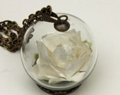 30mm Ivory Origami Rose in a Glass Orb Pendant Necklace Jewelry