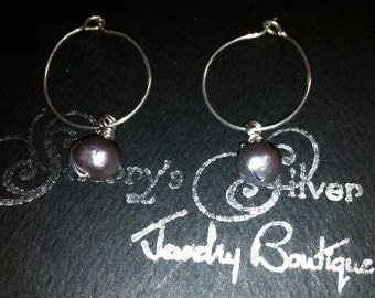Sterling Silver Hoops with Black Fresh Water Pearl