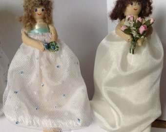 Flowergirl Gift: Peg-doll Bride and her Bridesmaid