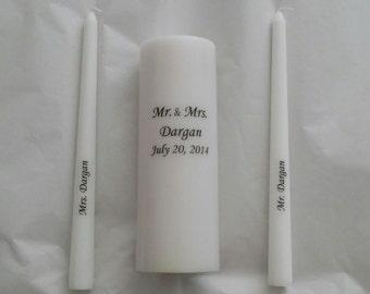 Personalized Unity candle set / Custom unity candle set with names and date/ personalized unity wedding candle