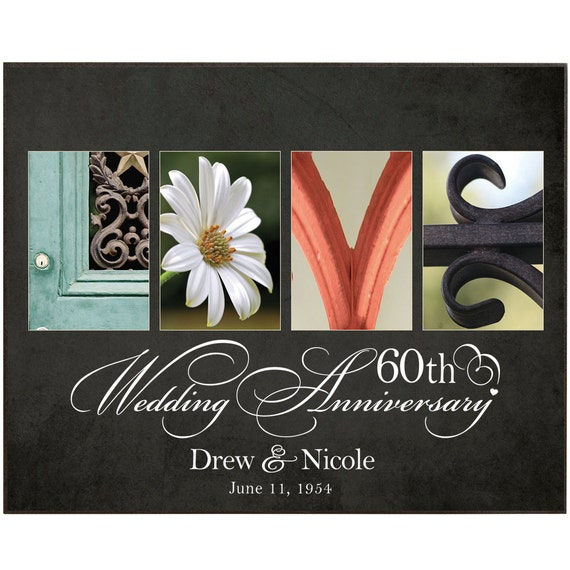 Unique 60th Wedding Anniversary Gifts : Personalized Gift 60th anniversary Love Plaque Custom Personalized ...