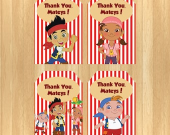 INSTANT DOWNLOAD - Jake and the Neverland Pirates Thank You Tag