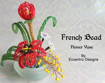 French Bead Flower Vase