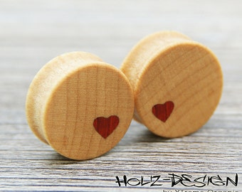 12 - 70mm Pair wooden Heart Flesh Tunnel plugs handmade ear plug gauge piercing organic ear jewelry natural wood