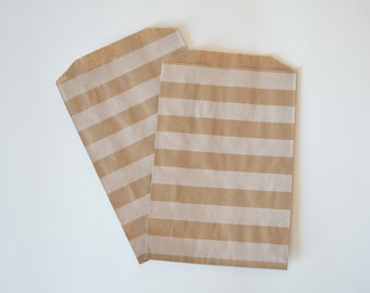 White Striped Kraft Paper Bags // Middy Bitty Bags // Nautical Favor Bags // Treat Bags // Flat Paper Bags 7.5x5 (Set of 25)
