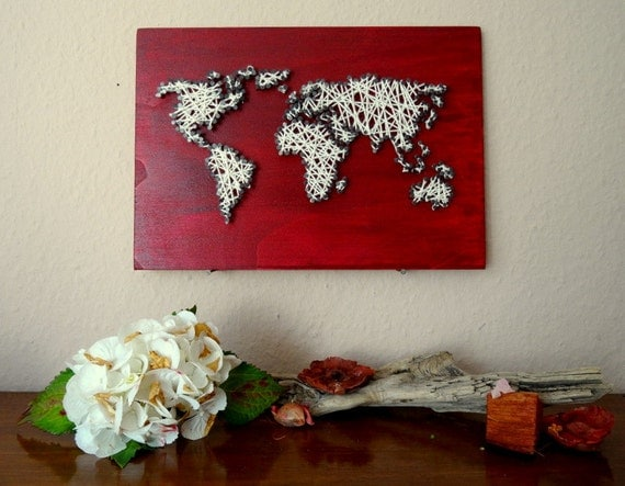 String Art World Map Decal Small World Map World Map - Small world map poster