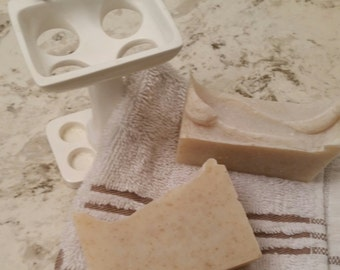 Handmade Almond with Oatmeal Cold Process  Soap